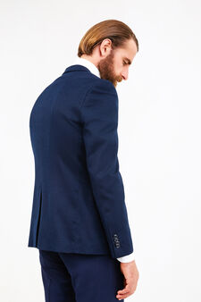 Custom-fit blazer with micro pattern, Blue, hi-res