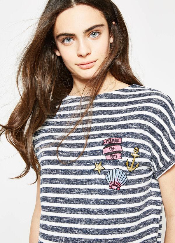 Camiseta corta de rayas en punto tricot Teen | OVS