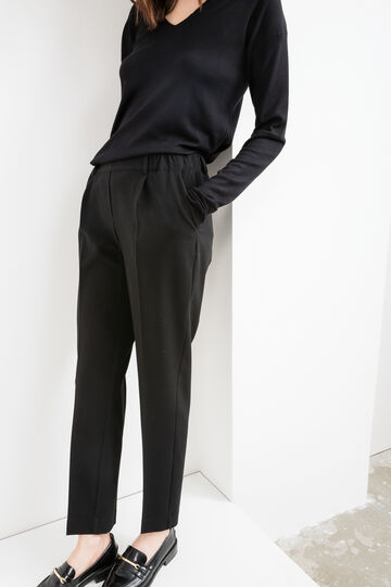 Elegant trousers with crease, Black, hi-res