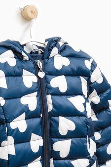 Patterned down jacket with hood, Blue, hi-res