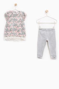 Patterned stretch cotton outfit, Multicolour, hi-res