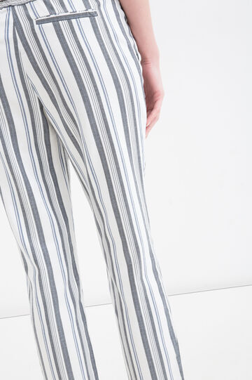 Pantaloni stretch a righe, Nero/Blu, hi-res