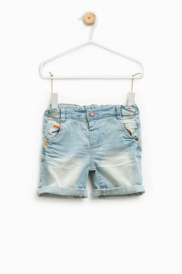 Worn-effect denim Bermuda shorts, Light Wash, hi-res
