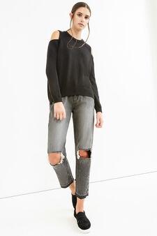 Cotton blend pullover with bare shoulders, Black, hi-res