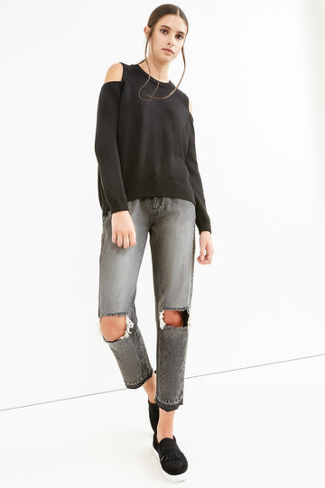 Cotton blend pullover with bare shoulders, Black, hi-res