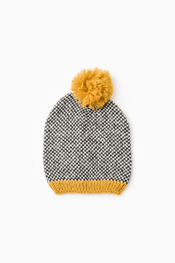 Patterned beanie cap, Golden Yellow, hi-res