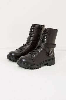 Combat boots with strap and buckle, Black, hi-res