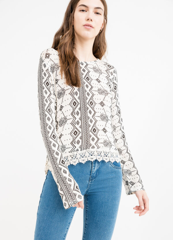 Stretch viscose T-shirt with all-over print | OVS
