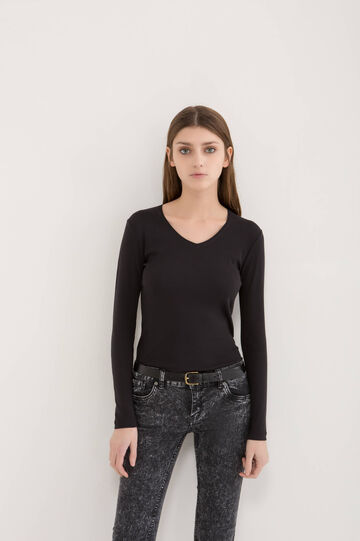 V-neck T-shirt in 100% cotton, Black, hi-res