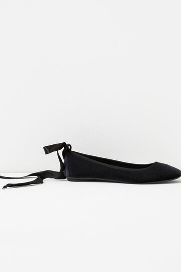 Velvet ballet shoes with ribbon, Black, hi-res