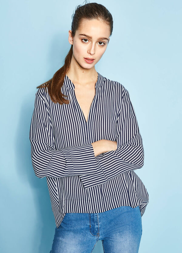 Blouse in 100% viscose with striped pattern   OVS