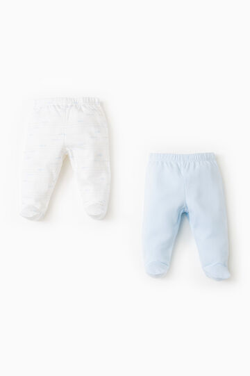 Two-pack baby leggings in 100% cotton, Light Blue, hi-res
