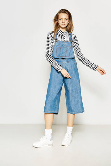 Denim dungarees with zip