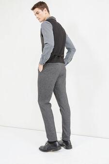Viscose blend waistcoat with contrasting back, Black/Grey, hi-res