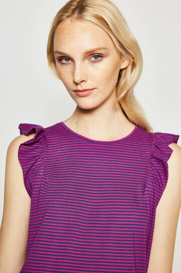 Striped cotton top with flounce