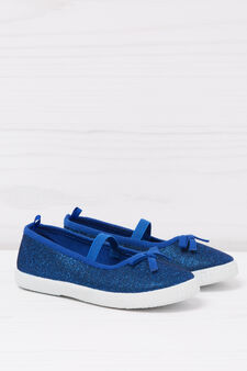 Glitter slip-ons with bow, Navy Blue, hi-res