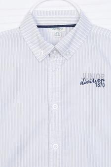 100% cotton shirt with button-down collar., White/Grey, hi-res