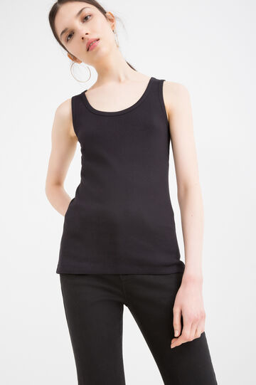 Solid colour top in 100% cotton, Black, hi-res