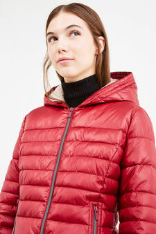 Down jacket with hood and fur lining, Red, hi-res