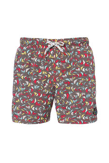Swim boxer shorts with print by Maui and Sons, Black, hi-res