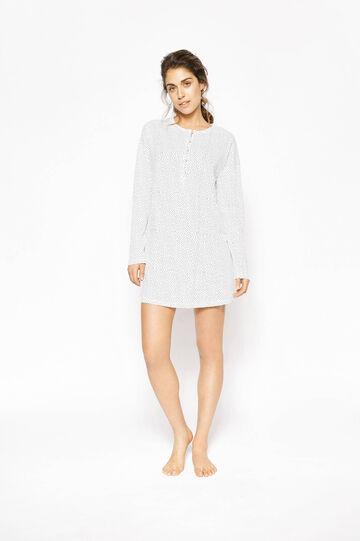 Polka dot nightshirt, White/Blue, hi-res