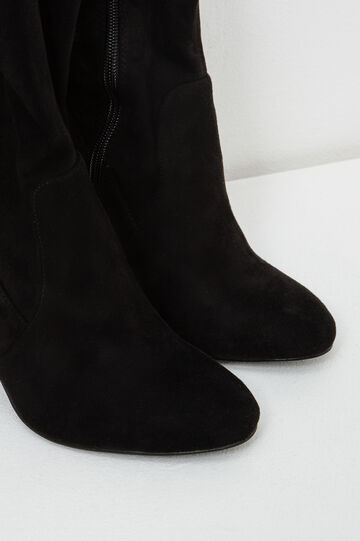 Solid colour high suede boots, Black, hi-res