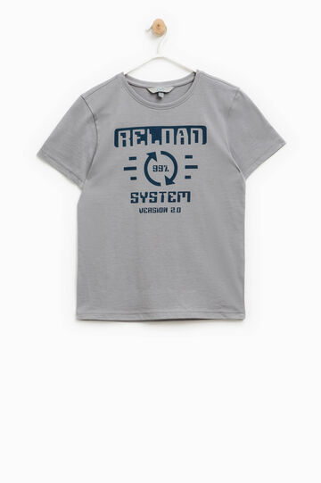 T-shirt with printed lettering, Grey, hi-res