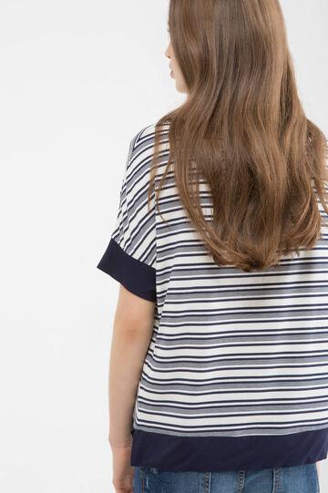 Stretch striped viscose T-shirt, White/Blue, hi-res