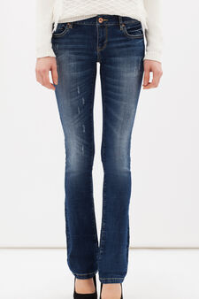 Worn-effect stretch jeans, Medium Wash, hi-res