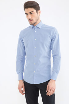 Slim-fit shirt with all-over print, Light Blue, hi-res