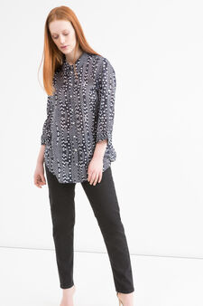 Patterned Curvy shirt, White/Blue, hi-res