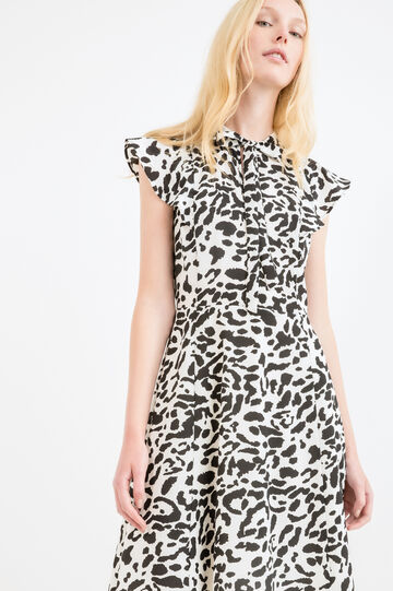 Dress with all-over print and bow, Black, hi-res