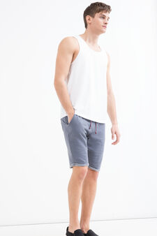 Solid colour 100% cotton Bermuda shorts, Blue, hi-res