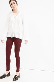Solid colour stretch cotton trousers, Claret Red, hi-res