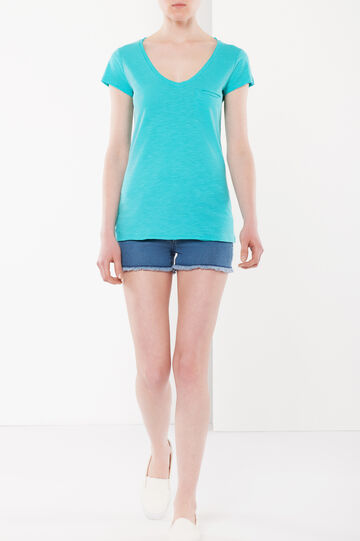 T-shirt with one breast pocket, Turquoise Blue, hi-res