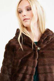 Solid colour faux fur jacket, Chocolate Brown, hi-res
