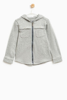 Shirt with hood and zip, Grey Marl, hi-res