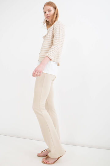 Knitted cardigan in 100% cotton., Chalk White, hi-res
