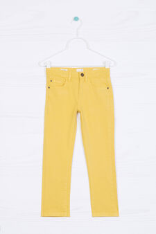 5-pocket stretch chino trousers, Yellow, hi-res