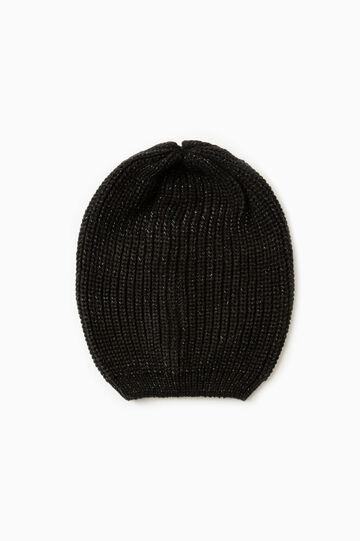 Solid colour knit beanie, Black, hi-res