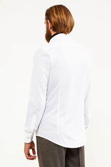 Solid colour slim-fit formal shirt, White, hi-res