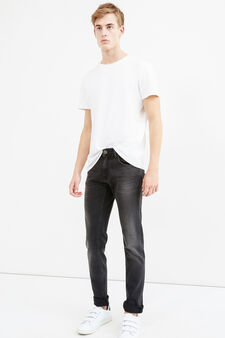 Faded, worn-effect slim-fit stretch jeans, Black, hi-res