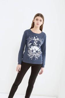 Cotton blend printed sweatshirt, Blue/Grey, hi-res
