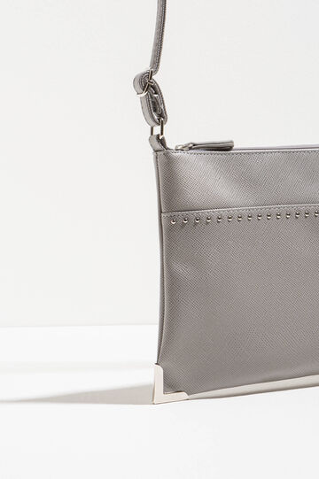 Shoulder bag with textured effect, Grey, hi-res