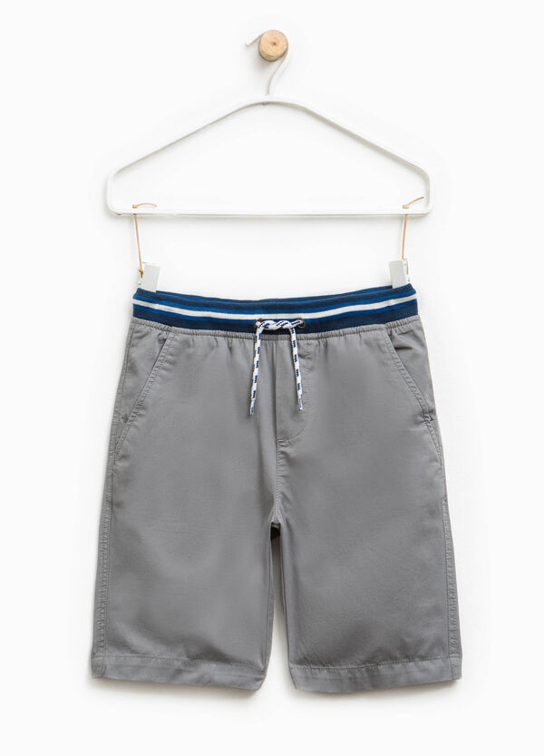 Cotton Bermuda shorts with striped waistband | OVS