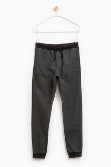Solid colour trousers with drawstring, Blue, hi-res