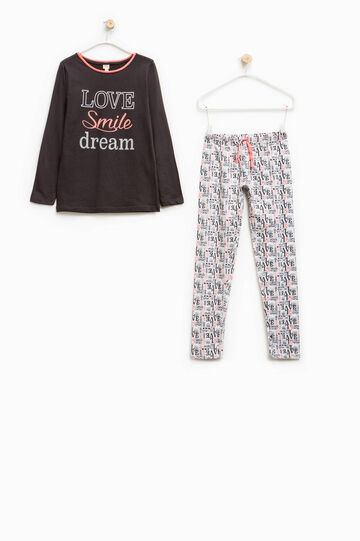 Pyjamas in 100% cotton with lettering pattern, Black/White, hi-res