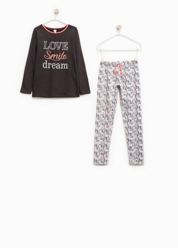 Pyjamas in 100% cotton with lettering pattern | OVS