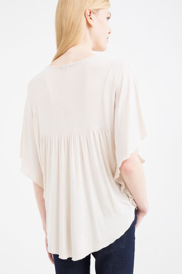 Viscose T-shirt with openwork insert, Milky White, hi-res