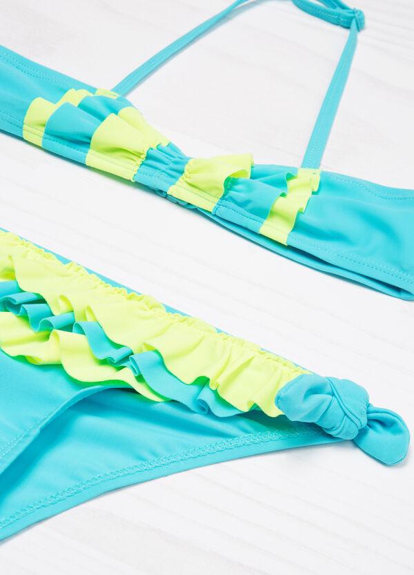 Bikini stretch con volants a contrasto | OVS